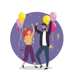 Woman and man dancing with balloons decoration vector