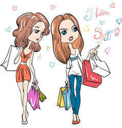 Cute fashion girls with shopping vector image vector image
