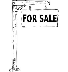 drawing of hanging wooden sign board with text vector image vector image