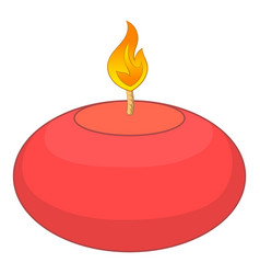 Red candle icon cartoon style vector image