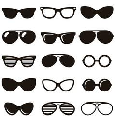 Set of black retro sunglasses icons vector