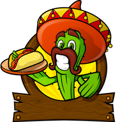 sympathetic cactus with a mexican taco vector image
