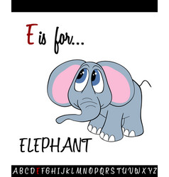 vocabulary worksheet card with cartoon elephant vector image