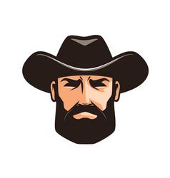 american cowboy logo or label sheriff wrangler vector image