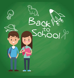 back to school puplis board chalk drawing vector image