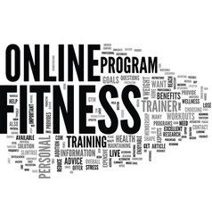 benefits of online workouts text word cloud vector image vector image