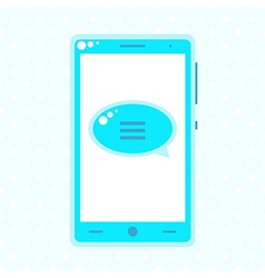 Blue mobile phone with speech buble vector image