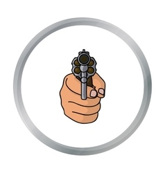 Directed gun icon in cartoon style isolated on vector image
