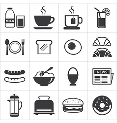 set of breakfast icon vector image