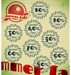Set of summer sale retro labels vector image
