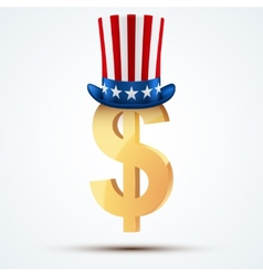 Symbol of the American dollar in Uncle Sam hat vector image vector image