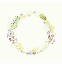 watercolor round floral frame Hand draw herbal vector image vector image