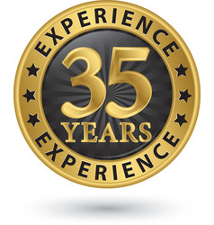 35 years experience gold label vector image vector image