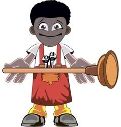 Cartoon Plumber holding Plunger vector image
