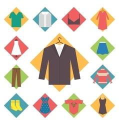 Clothing icons set shopping elements flat design vector image