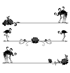 set borders with flamingo and roses vector image