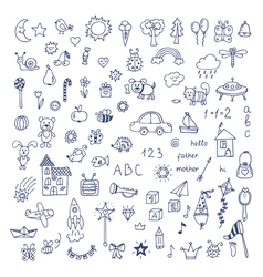 Set of hand drawn cute doodles Doodle children vector image vector image
