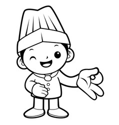 black and white executive chef mascot money vector image vector image