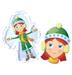 Girl making snow angel vector image vector image