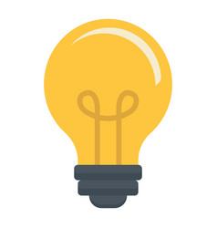 light bulb flat icon lamp and idea light vector image vector image