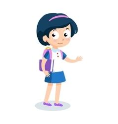 Portrait of teenager girl with school backpack vector image vector image