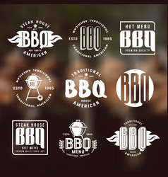 set of barbecue labels and emblems vector image vector image