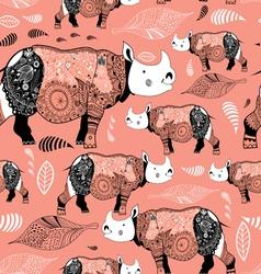 stok vektor patterned rhinos vector image vector image