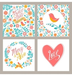 Wedding set of invitation cards with flowers and vector image vector image