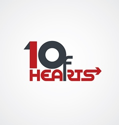 10 of hearts logo poker logotype vector image