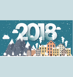 2018 winter urban landscape vector