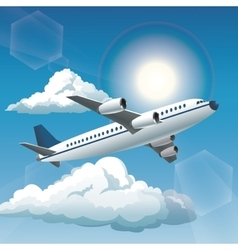 aircraft sunny blue sky clouds vector image