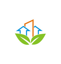 arrow building eco logo vector image