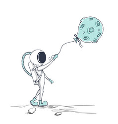 Astronaut keeps a balloon like a moon vector