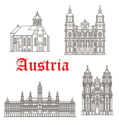 austrian architecture buildings icons vector image
