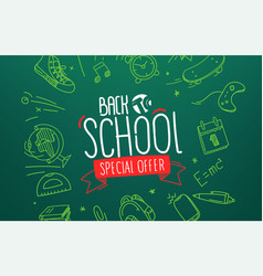 Back to school special offer banner w lettering vector