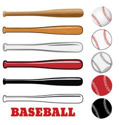 baseball and baseball bat isolated on white vector image
