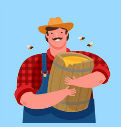 beekeeper is holding a wooden keg with honey vector image