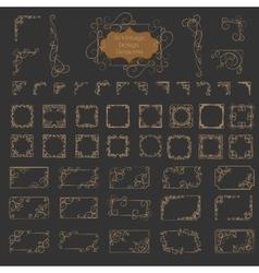 big set art deco frame elegant border vector image