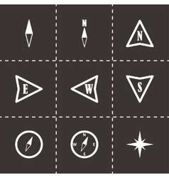 black compass icons set vector image