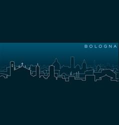 Bologna multiple lines skyline and landmarks vector