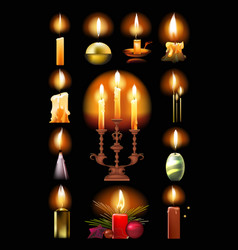 burning candles classic in holder candlestick vector image
