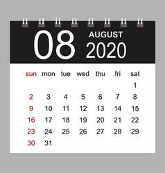 business calendar 2020 august notebook vector image