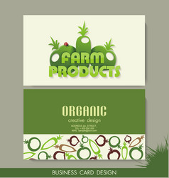 Card set eco design organic foods shop or vegan vector