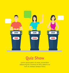 cartoon people quiz game show concept vector image