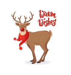 christmas card cartoon rudolph red nose reindeer vector image