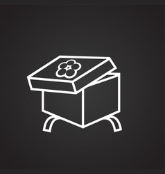 Christmas gift box on black background vector