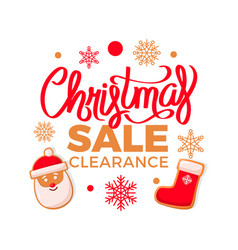 Christmas sale clearance santa claus and stockings vector