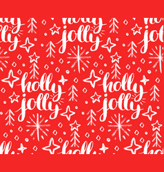 christmas seamless pattern with holly jolly vector image