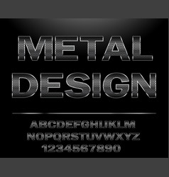 chrome steel grid font design for typography vector image