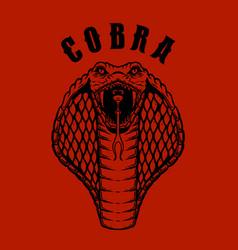 cobra snake head in engraving style design vector image